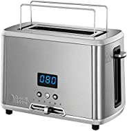 Russell Hobbs 迷你烤面包机 数字倒计时显示 1 个超宽的吐司槽口 集成式烤小面包附件 不锈钢/黑色 RUS4008496984046