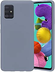 Goospery 液态硅胶手机壳适用于三星 Galaxy A51 5G (不适合 Verizon A51 5G UW,A51 4G) 果冻橡胶缓冲保护套,带柔软超细纤维衬里(薰衣草灰色)A516-SLC-LGRY