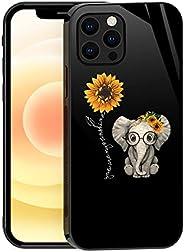 TnXee iPhone 12 Pro Max 手机壳,可爱的大象向日葵图案适用于 iPhone 12 Pro Max 手机壳,女式女孩玻璃防刮保护套,带 TPU 软边防滑设计手机壳,适用于 iPhone 12 Pro