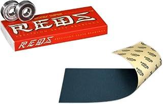 Bones Super Reds 轴承,8 件装,带Mob 滑板握把胶带,黑色 9 英寸无气泡