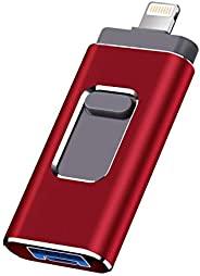 XINHUAYIiOS 閃存盤 適用于 iPhone Photo Stick 1TB*棒 USB 3.0 閃存盤 閃電拇指驅動器 適用于 iPhone iPad Android 和電腦(RED1TB)
