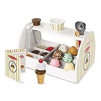 Melissa & Doug 木制勺与冰淇淋柜台玩具(可玩的食物和配件,28件,逼真的酷派,男女生的完美礼物-适合3、4、5岁及以上的孩子)