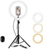 12 英寸(约 30.5 厘米)自拍环灯,带三脚架支架,蓝牙遥控,Fugetek 3 合 1 自拍套件,适用于实时视频和照片(黑色,12 英寸)