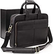 Luxorro 男式皮革公文包 | 柔软的全粒面皮革笔记本电脑包男士带手工缝线,可持续一生 | 纤薄而宽敞 | 适合 14 英寸笔记本电脑,黑色
