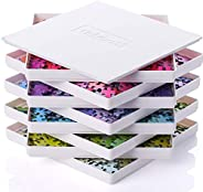 Tidyboss 8 个拼图分类托盘带盖子 8 英寸 x 8 英寸 - 便携式拼图配件白色背景使拼图更加突出,更好的分类图案、形状和颜色| 适合*多 1500 片拼图