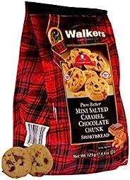 Walkers Shortbread 迷你鹽漬焦糖巧克力餅干,4.4盎司/125克 袋裝(6件裝)