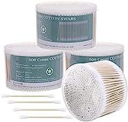 2000 支棉签双头耳塞 带竹棒 3 英寸(约 7.6 厘米)棉尖涂抹器 适用于耳朵和化妆