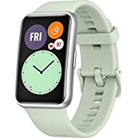 HUAWEI 华为 WATCH FIT 智能手表,1.64 英寸 AMOLED 显示屏,快速锻炼动画,10 天电池续航时间,96 种训练模式,GPS,5ATM,SpO2传感器,心率测量-薄荷绿+5 欧元 Amazon 优惠券