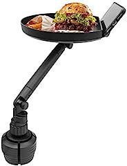 Macally 汽车杯托 - 享受您的用餐和保持井然有序 - 可调节汽车托盘桌,表面9英寸(约22.9厘米),手机插槽和360度旋转臂 - 汽车食品桌适用于杯架3英寸(约7.6厘米)至4英寸(约10.4厘米)