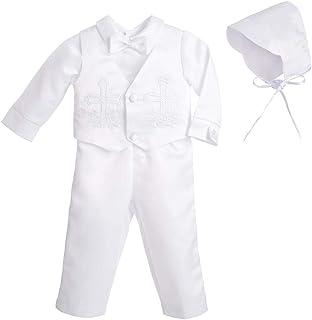 Dressy Daisy 男婴洗礼服 带帽 短袖白色西装