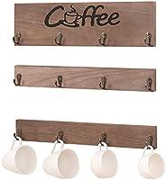 咖啡架杯架 乡村风格壁挂式杯架 12 个咖啡杯架 复古咖啡杯架 适用于柜台厨房展示存储和收藏实木