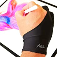 Articka 艺术家手套,用于绘画平板电脑,iPad(晕染保护,两指,减少摩擦,弹性莱卡,左右手适用)...(大号,黑色)
