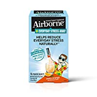 Airborne Everyday Stress Away 维生素 C  + L-茶氨酸 & B 族维生素,热情橙子口味混合营养粉(每盒16包 ),有助于自然减轻日常压力