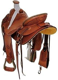 Deen, Enterprises 经典品质手工韦德树 A 叉高级西部皮革绳索牧场工作马鞍,尺寸 35.56 厘米可选