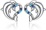 正品 925 纯银海洋心形海豚带透明方晶锆石耳环动物*可爱耳环耳钉适合女性生日