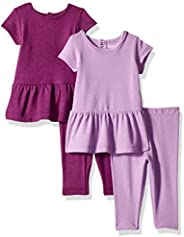 Hanes Ultimate 女婴柔韧套装 - 2 件短袖连衣裙,配有 2 条打底裤