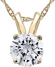 1/2ct TW 黄金圆形钻石单粒吊坠 14K