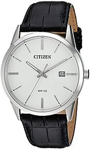 Citizen 西铁城男士石英不锈钢真皮休闲手表,颜色:黑色(型号:BI5000-01A)
