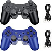 PS3 无线控制器,1 包无线蓝牙 6 轴游戏手柄控制器兼容 Playstation 3 控制器,PS3 控制器(黑色 + 蓝色)