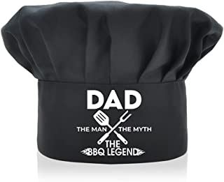 AGMdesign 趣味厨师帽, Dad The Man The Myth The BBQ 传奇, 可调节厨房烹饪帽男女黑色,母亲节/父亲节/送给他,她的,妈妈,爸爸,朋友的生日礼物