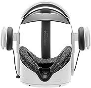 立体声 VR 耳机定制适用于 Oculus Quest 2 精英头带和原创头带式耳深低音 3D 360 度声音(白色)