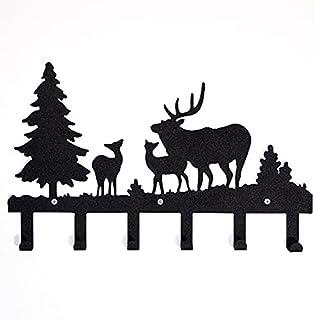 Homemania HOMESRV-128 衣服挂钩,适用于圣诞节,动物,森林,鹿带挂钩,墙壁艺术,墙壁输入,走廊,黑色,金属,42 x 2 x 28厘米