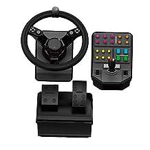 Logitech 羅技 G Farm Simulator 重型設備套裝(* 2 代),適用于農場模擬 19 (或更早)、車輪、踏板、車輛側面板控制板 適用于 PC/PS4