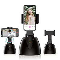 WOWOONE 智能面部跟蹤支架 360° 自動物體跟蹤支架 便攜式自拍桿三腳架 旋轉視頻 Vlog 機器人相機 適用于 iPhone/Android 手機(黑色)