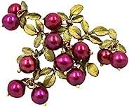 Michael Michaud 蔓越莓珍珠和绿色青铜叶粉/胸针 银海龙