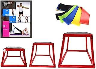 Plyometric Box 套装,跳跃敏捷盒套装,红色多计防水台带阻力环锻炼带,3 种尺寸 12 英寸(约 30.5 厘米),18 英寸(约 45.7 厘米),24 英寸(约 60.9 厘米),多轴平台 3 件套,完美设计,适合跳跃锻炼,训练...
