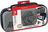RDS Industries Nintendo Switch 或 Switch Lite Mario 保护套 - 可调节视角支架,保护性 PU 皮革硬壳保护套,带豪华手提把手,包括两个游戏保护套 - Nintendo S