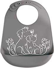 Modern Twist Silicone Bucket Bib Puppy Grey