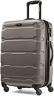 Samsonite 新秀麗 Omni Pc Hardside 可擴展行李箱,帶萬向輪,銀色,Checked-Medium 24-Inch