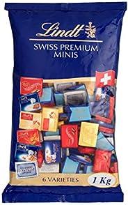 Lindt 瑞士莲 那不勒斯巧克力糖 迷你巧克力板 超浓牛奶,牛奶坚果,Lindor牛奶,Cresta白,Crémant,159支, 1件装 (1 x 1公斤)