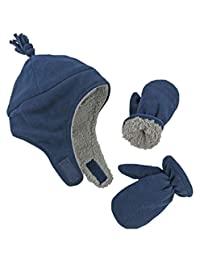 N'Ice Caps 男童和婴儿夏尔巴内衬微羊毛飞行员帽子手套套装