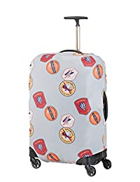 Samsonite Global Travel Accessories Lycra Luggage Cover M, Grey (Heritage Patches)