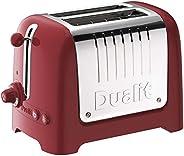 Dualit 2 Slice Lite 烤面包机   1.1kW 烘烤 每小时 60 片   红色饰边抛光   百吉饼和除霜设置   36 毫米宽槽   26207
