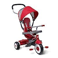 Radio Flyer 四合一 Stroll 'N 三轮车,红色幼儿三轮车,适合 9 个月 - 5 岁,50.48 厘米 x 89.02 厘米 x 103.50 厘米