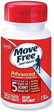 Move Free 益节 高级关节营养片,氨基葡萄糖和软骨素,一瓶350粒,有益于移动性,灵活性,能量,润滑性和舒适性