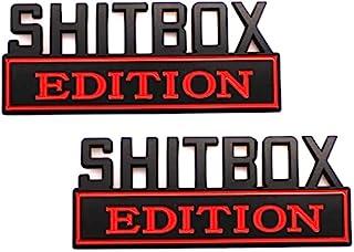 2 件 小号 SHITBOX Edition 徽章贴花贴纸适合 F150 F250 F350 雪佛兰 Silverado 1500 2500 雪佛兰 C10 C15 汽车卡车(黑红色)