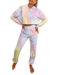 Pofash 女式扎染印花运动服连帽衫慢跑者 2 件睡衣套装家居服睡衣