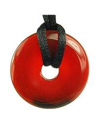 Steampunkers 美国石轮圈甜圈 - 30 毫米甜圈环经典红玛瑙深橙色 - 50.8-55.8 厘米可调节黑色绳 - 水晶宝石收藏品雕刻项链手工饰品