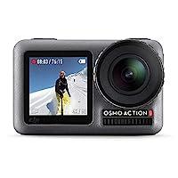 DJI 大疆创新 Osmo Action-4K 动作凸轮12MP数码相机,带2个显示屏36英尺(约10.97米)水下防水WiFi HDR视频145°角度,黑色