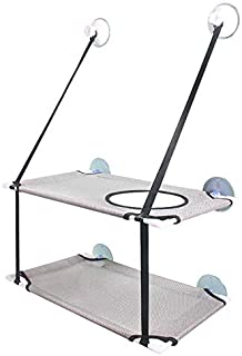 猫窗栖息地双层 猫咪玩耍和享受阳光猫窗吊床 柔软透气网眼面料 稳定结构 猫座床 可折叠节省空间