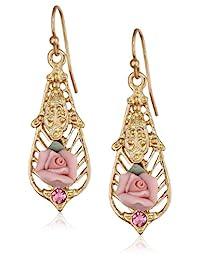 """1928 珠宝""""陶瓷玫瑰系列""""金色粉色陶瓷浅玫瑰色吊坠耳环"""