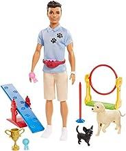 Barbie Ken狗训练师玩偶,带2个狗狗公仔,箍环,平衡杆,跳跃杆,奖杯和2个优胜者丝带