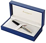 Waterman 威迪文 Carène 豪华钢笔,亮黑色和镀银,带 23k 镀金笔夹,中号笔尖,带蓝色墨囊,礼盒