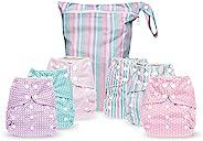 Simple Being 可重复使用布尿裤 - 双衬布 - 6 件装口袋可调节尺寸 - 防水罩 - 6 个插件 - 湿袋(女孩条纹)