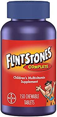 Flintstones Vitamins 儿童维生素咀嚼片,含铁,钙,维生素C,维生素D等的儿童和幼儿完全复合维生素(2瓶装*150片)