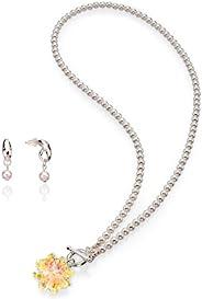 SEA Smadar 优雅设计和手工白色珍珠和施华洛世奇水晶项链带 925 镀铑匹配耳环